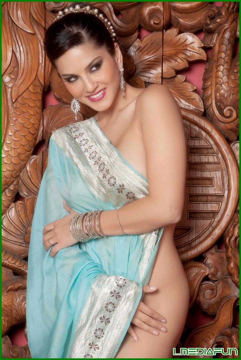 Sunny Leone  Sareefashion  Saree Photoshoot, Blue Saree -6559