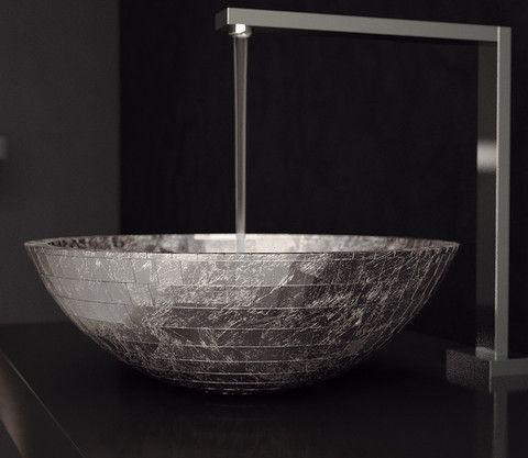 Glass Design Mosaic Vessel Sink Silver Leaf