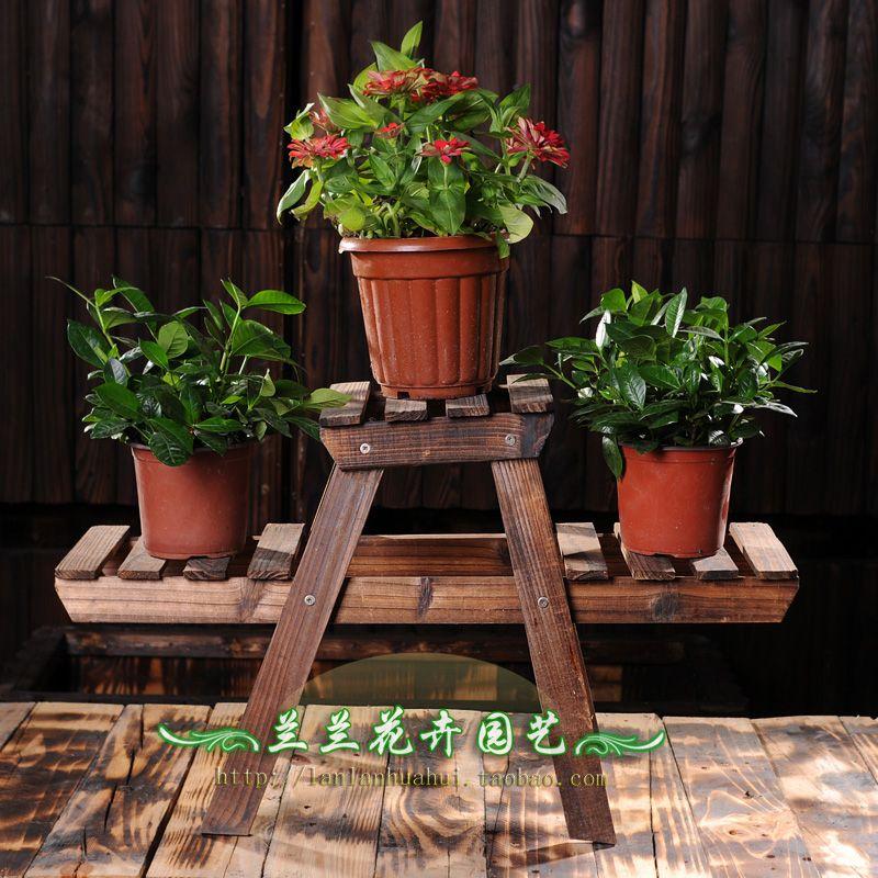Outdoor Small Wooden Flower Stand Flower Ladder Flower Thalami