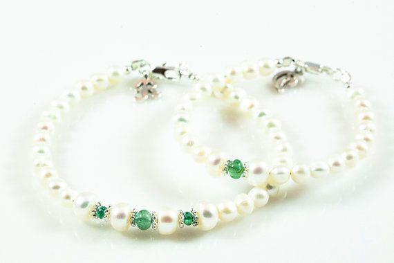 Personalized Natural High Quality Emerald and Pearl by Elizana, $75.00