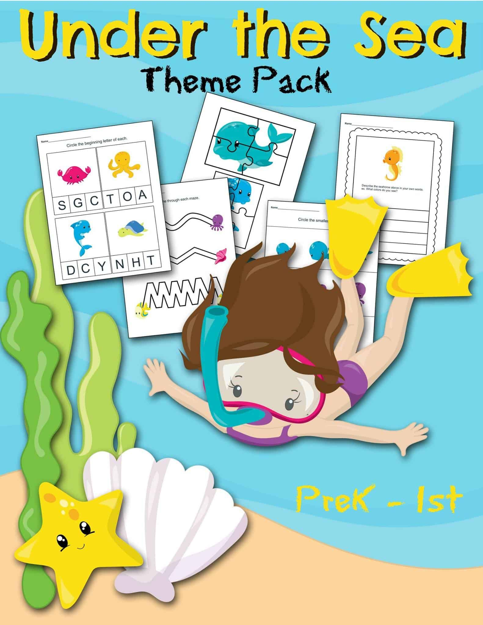 Free Under The Sea Worksheet Printable Preschool Set