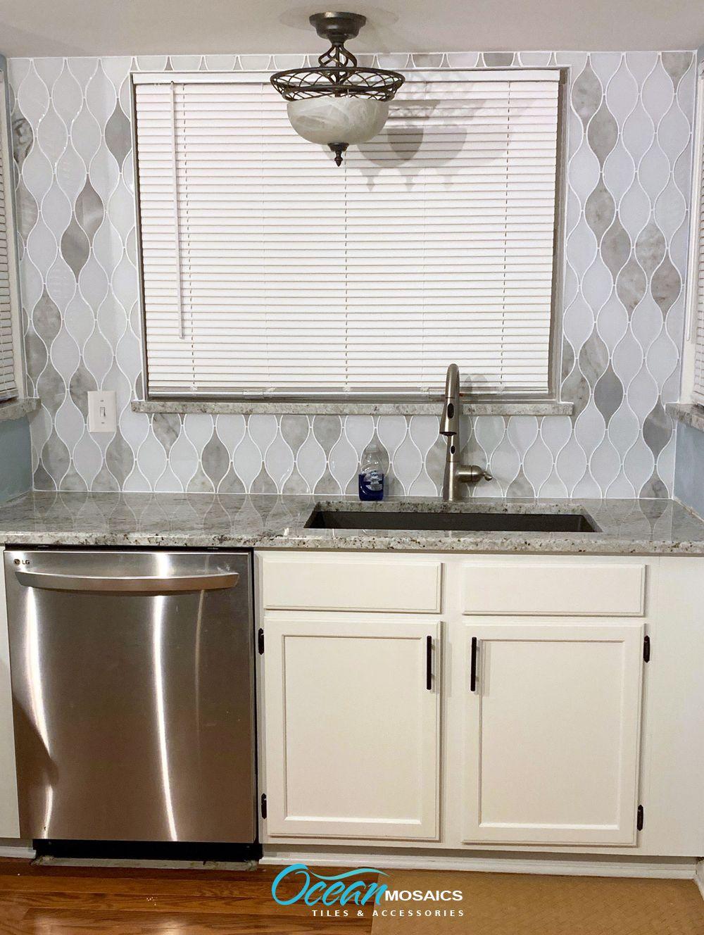 - Chandelier Carrara Teardrop Glass Mosaic Tile Unique Kitchen
