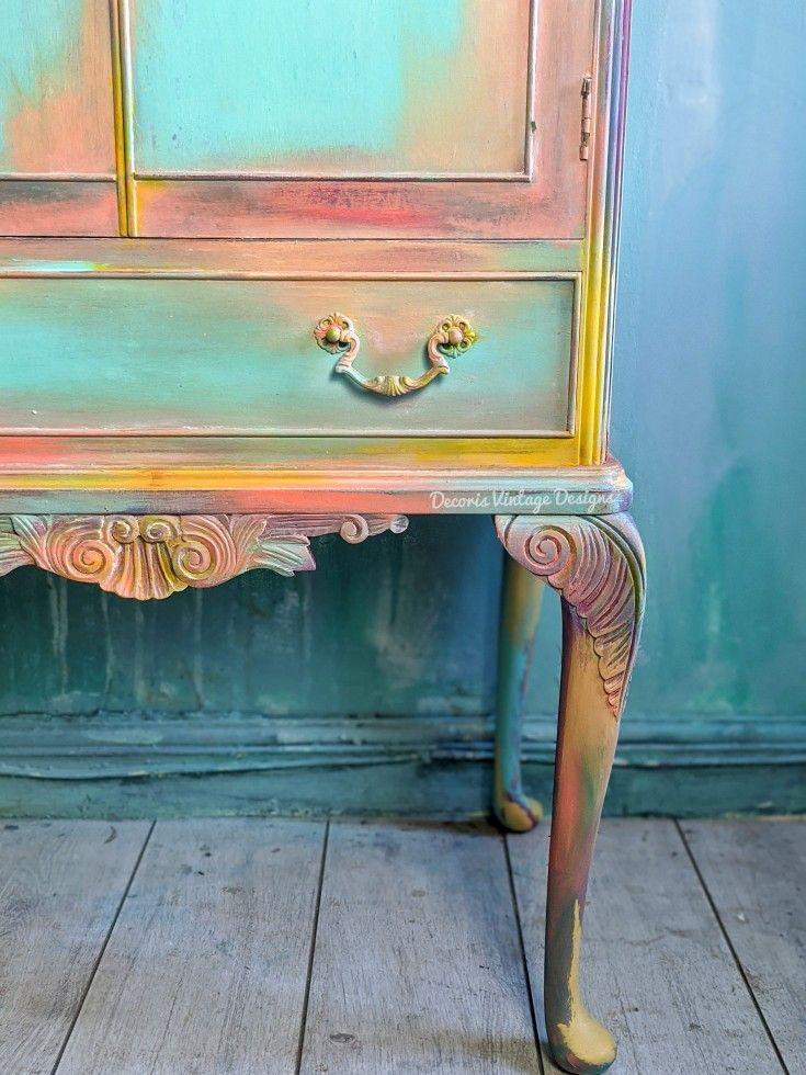 #decorisvintagedesigns #makefurnitureyourart #pastels #cabinet #upcycled #chalkpaint #chalkpaintedfurniture #handpaintedfurniture #bohofurniture #furnitureartist #dixiebelle #dixiebellepaint #colourful