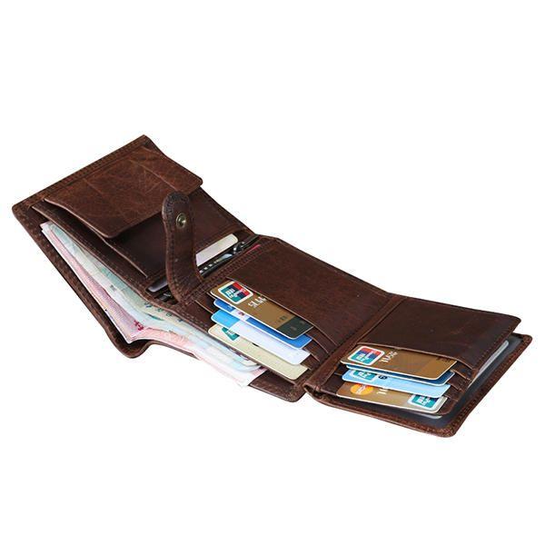 a74895bdee241 Men Genuine Leather Vintage Tri-fold Wallet 12 Card Slots Short Wallet Slim  Wallet