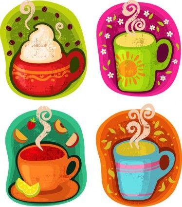 Copa de café de la bebida caliente o té de ilustración vectorial