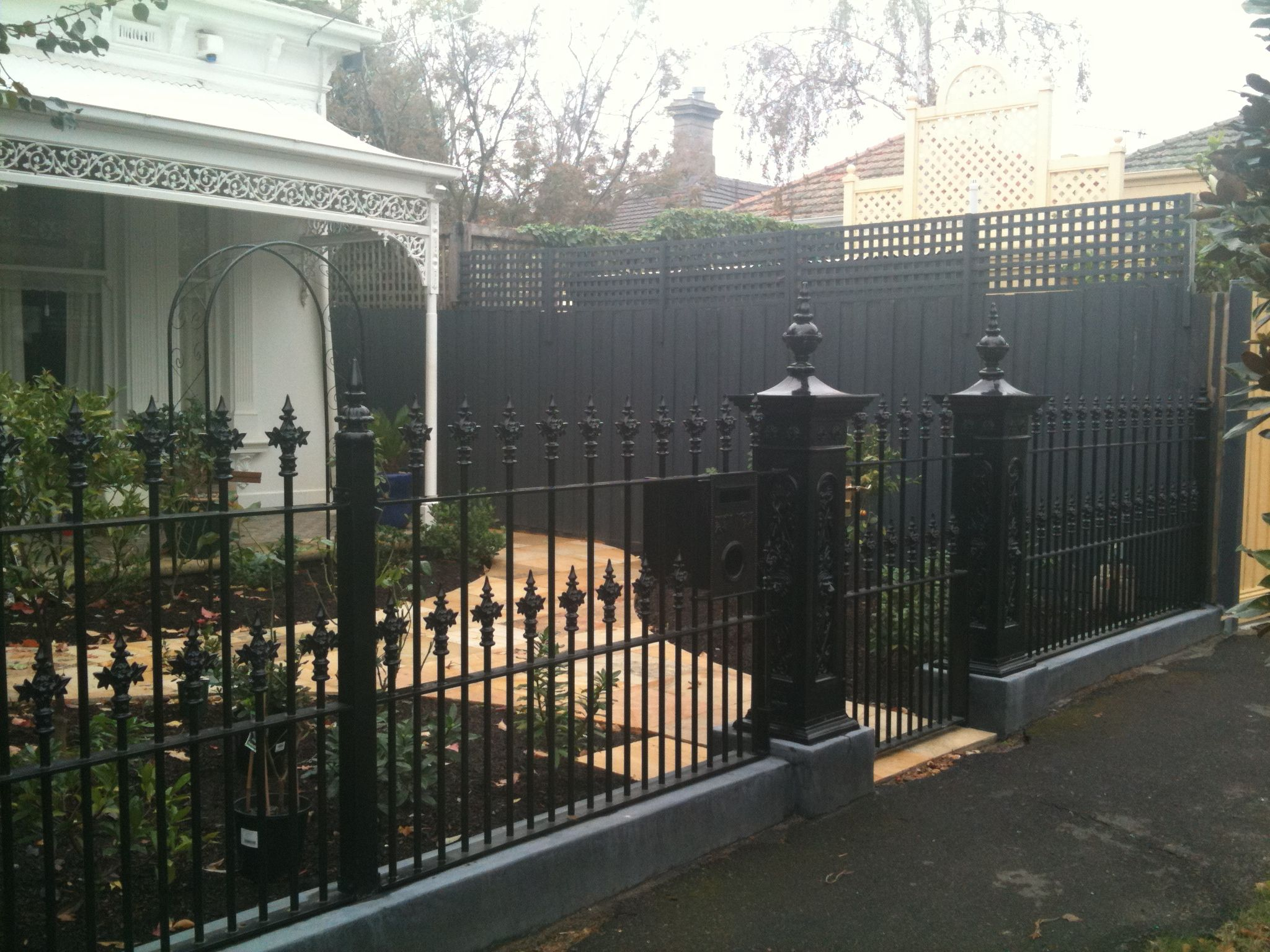 front wrought iron fence with lion head posts house pinterest