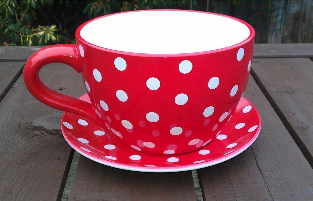 Giant Red Polka Dot Tea Cup And Saucer Planter Tea Cup Planter Tea Cups Alice In Wonderland Wedding Theme