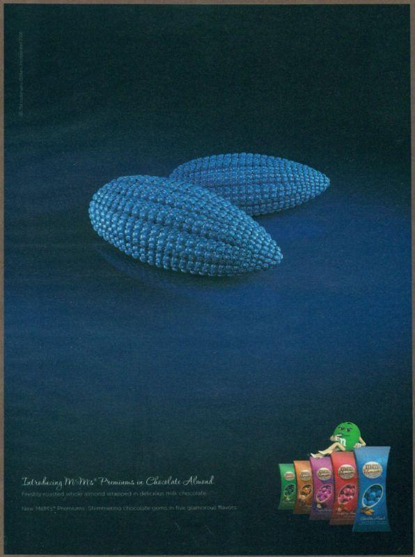 M&M's Almonds 2008 print ad / magazine advertisement, M&Ms candy #MMs