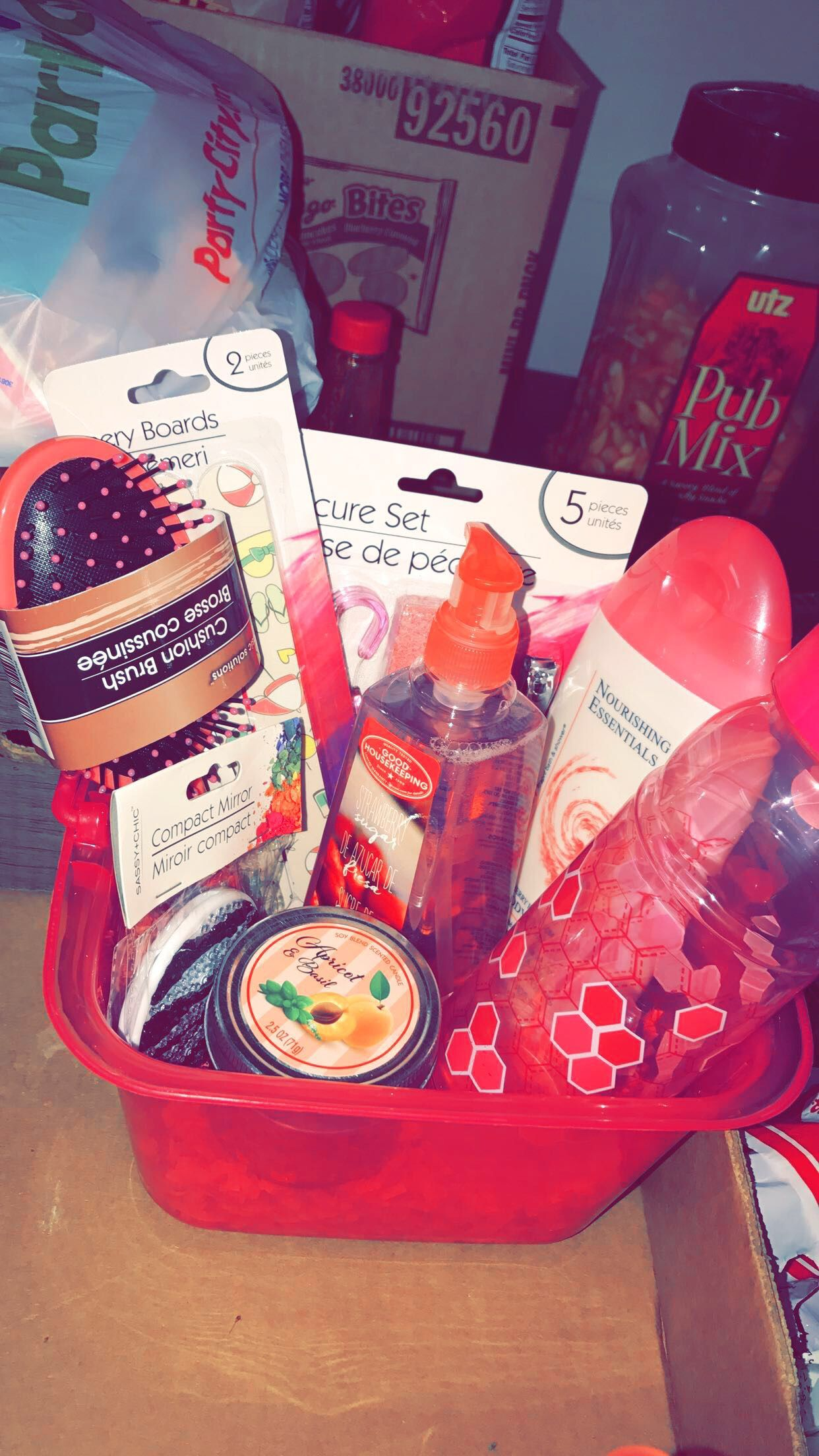 Gift Basket Was Made From Dollar Tree Super Cute And Very Adorable Diy Dollar Tree Gifts Dollar Tree Gifts Diy Christmas Gifts Cheap