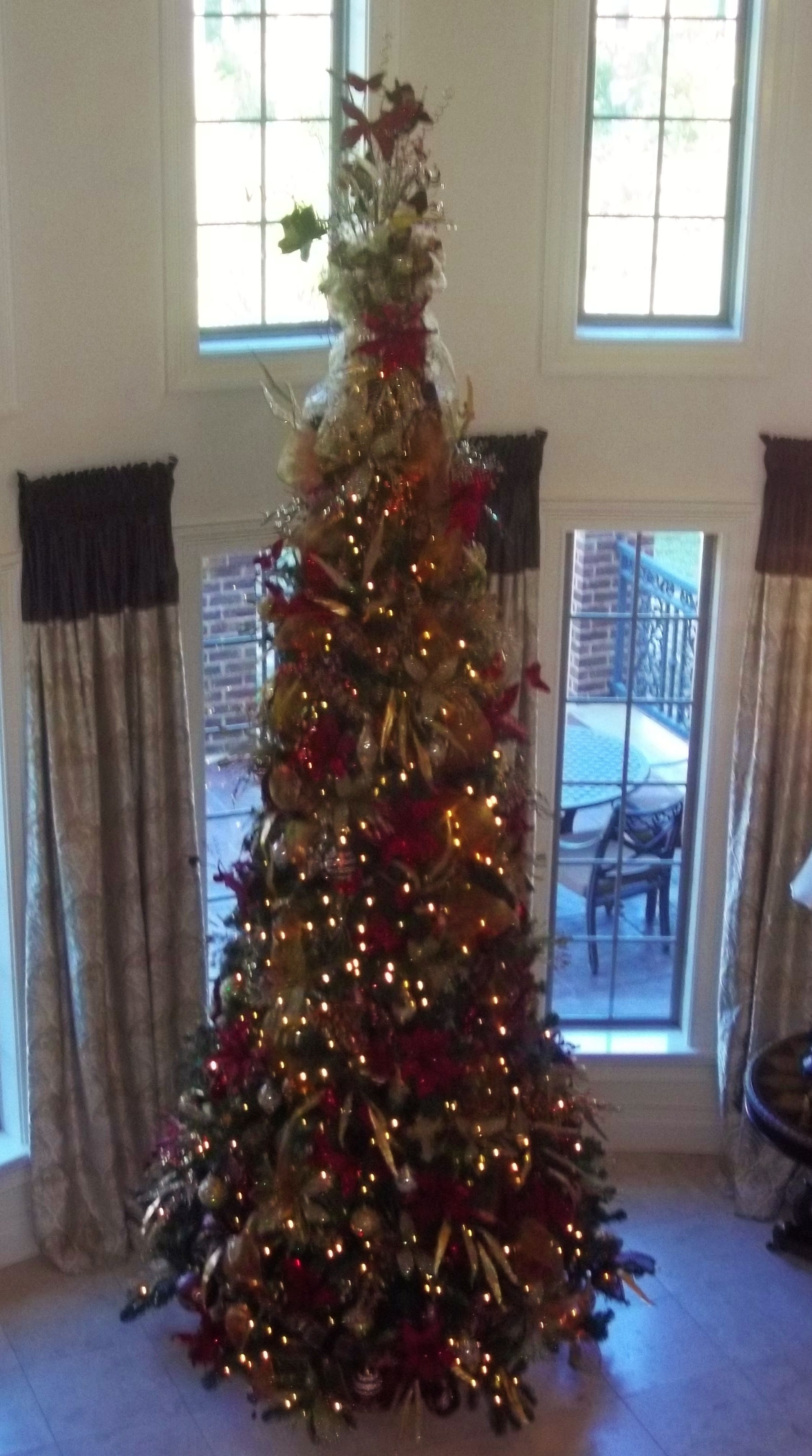A 12 Ft Tree I Decorated Featuring A Custom Made Tree Topper I Designed And Made Holiday Decor Decor Floral Design