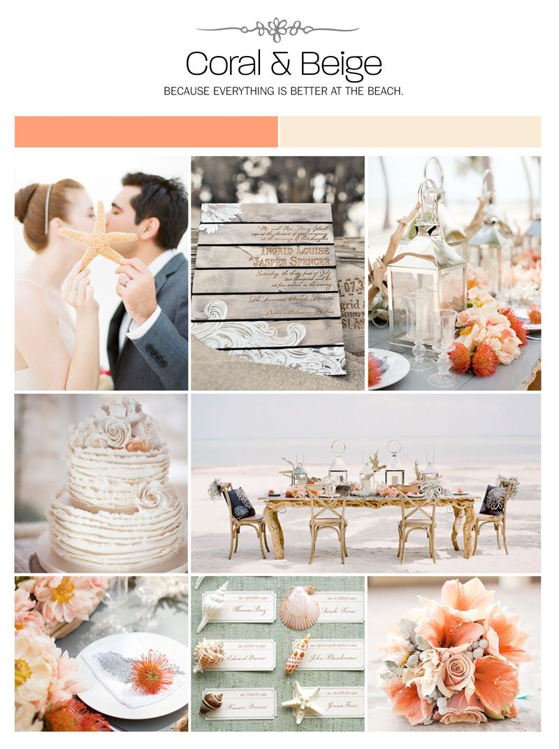 Coral and beige beach inspiration board, color palette, mood board ...
