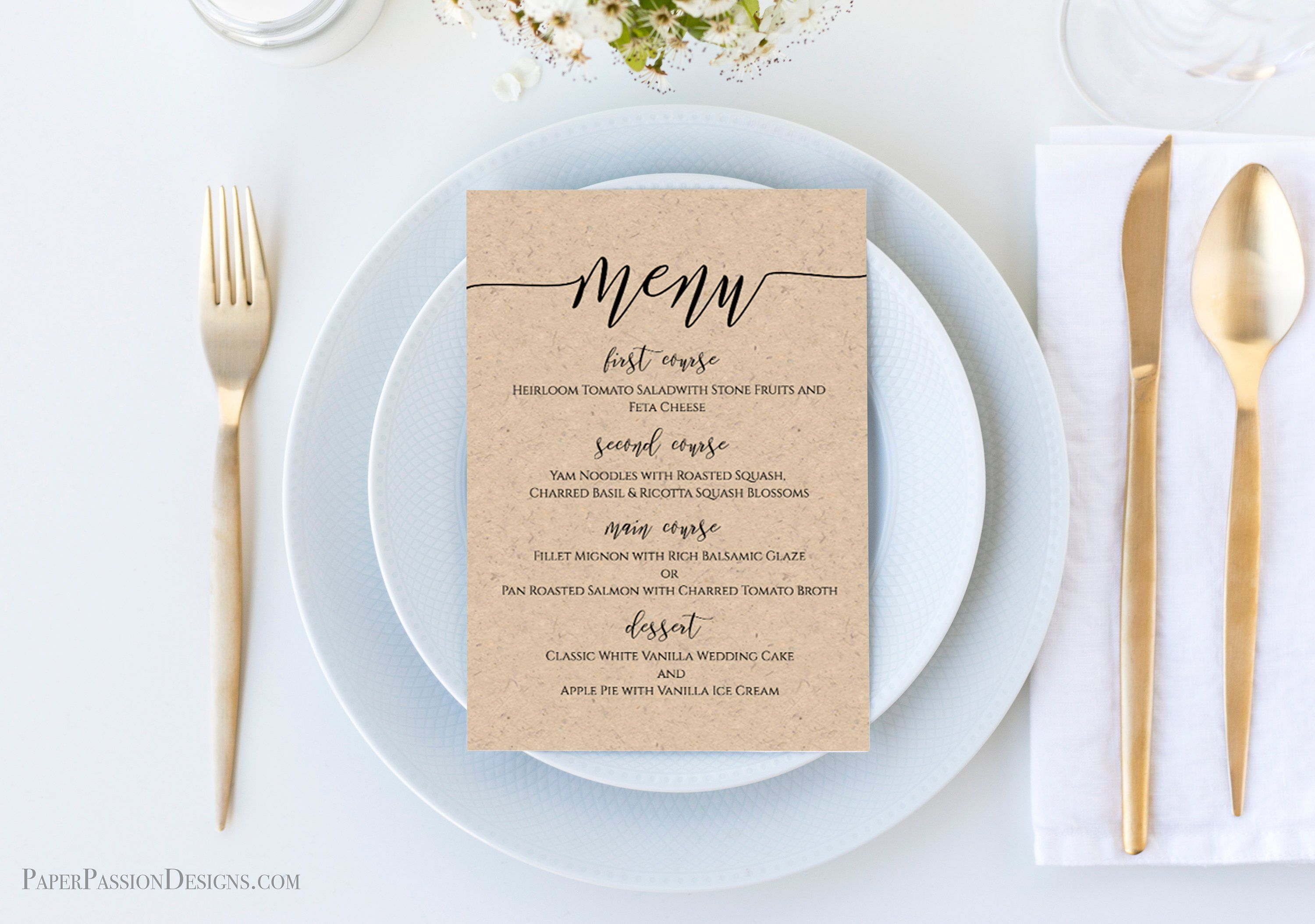 Modern Rustic Wedding Menu Template, Script Font Menu Card, 100% Editable, Templett PPW0550 #weddingmenutemplate Modern Rustic Wedding Menu Template, Script Font Menu Card, 100% Editable, Templett PPW0550 #weddingmenutemplate