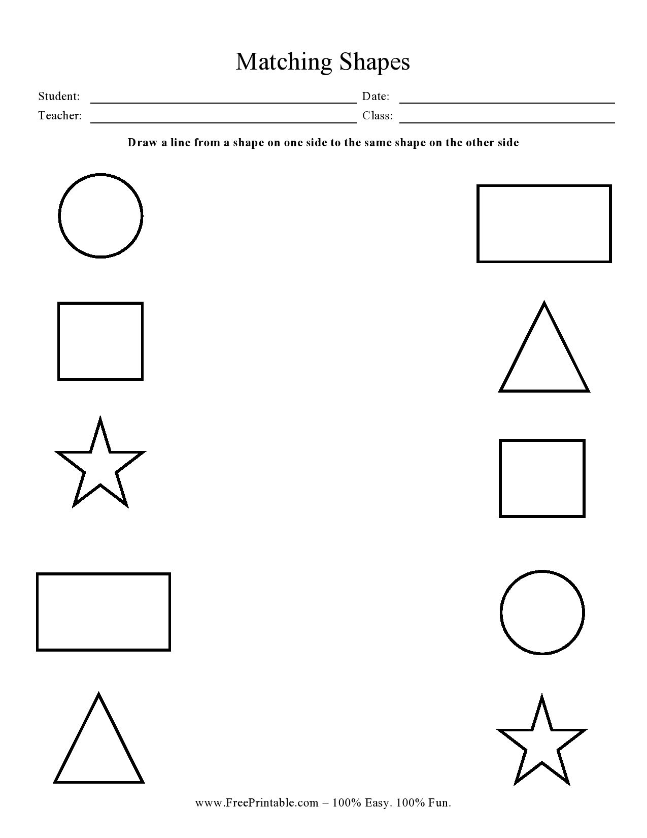 Customize Your Free Printable Matching Shapes In
