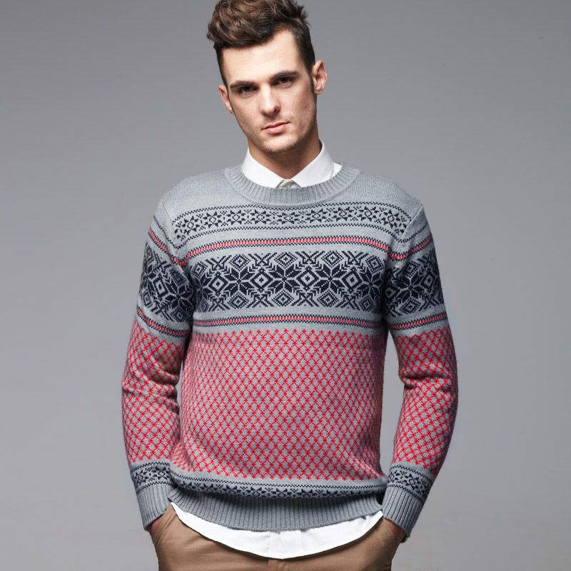 Pattern Jacquard MEN Sweater Gray !