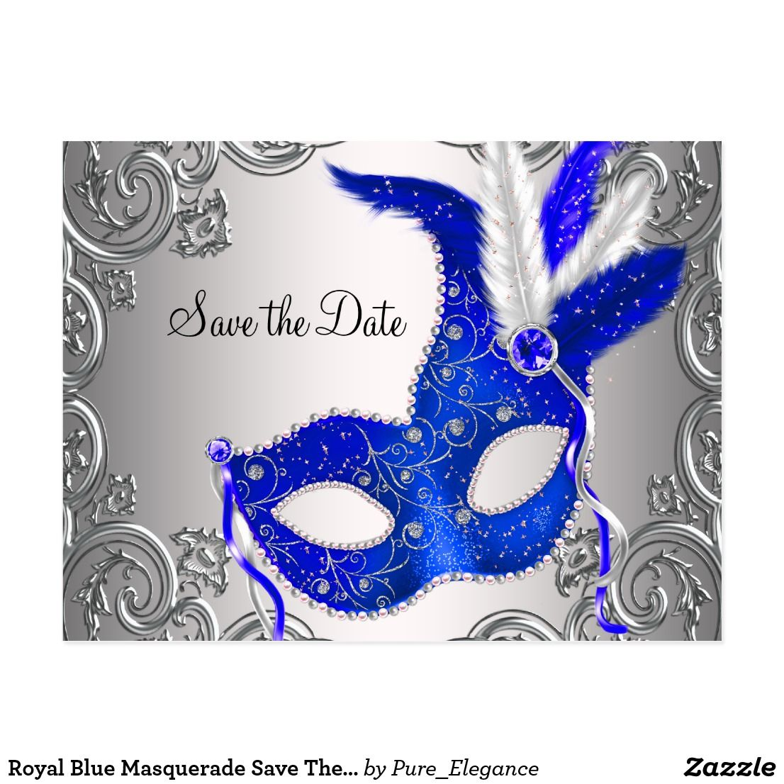 Royal Blue Masquerade Save The Date Announcement Postcard