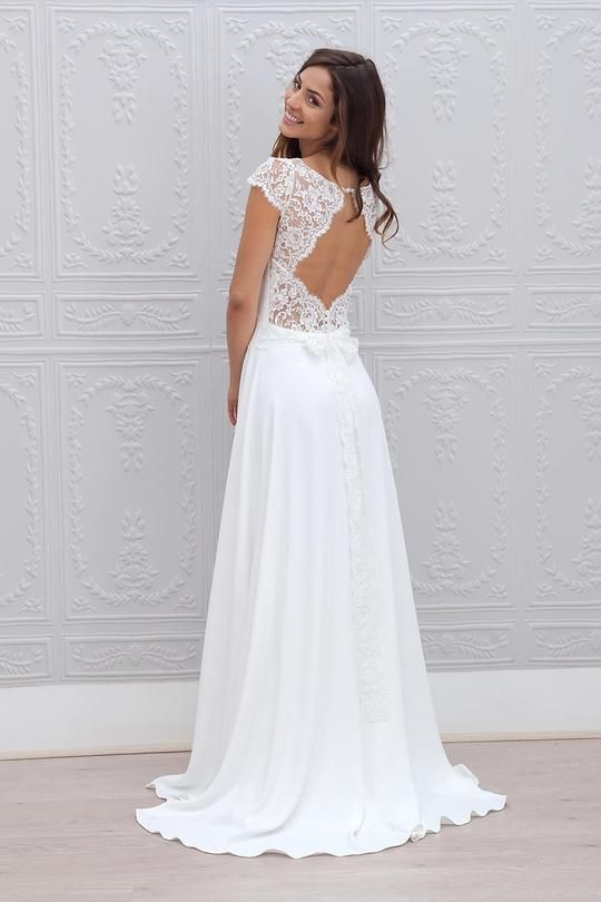 A-Line Cap Sleeves Open Back Lace Chiffon Bridal Wedding Dresses with Sweep Train #lacechiffon