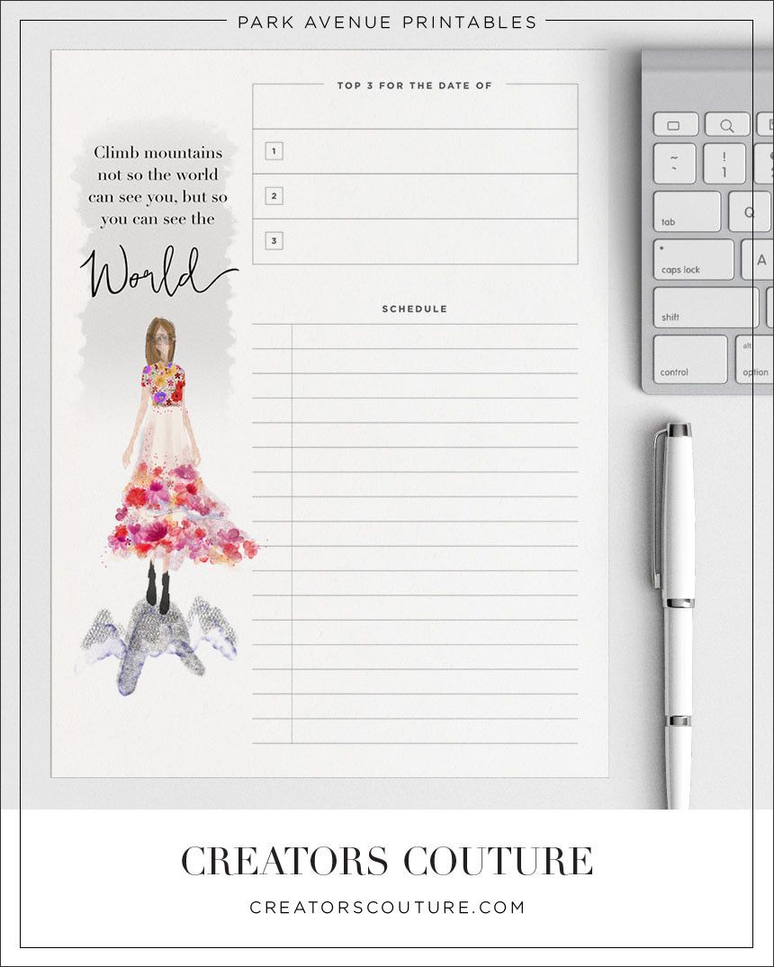 May Flowers Couture - Free Day Planner Printable
