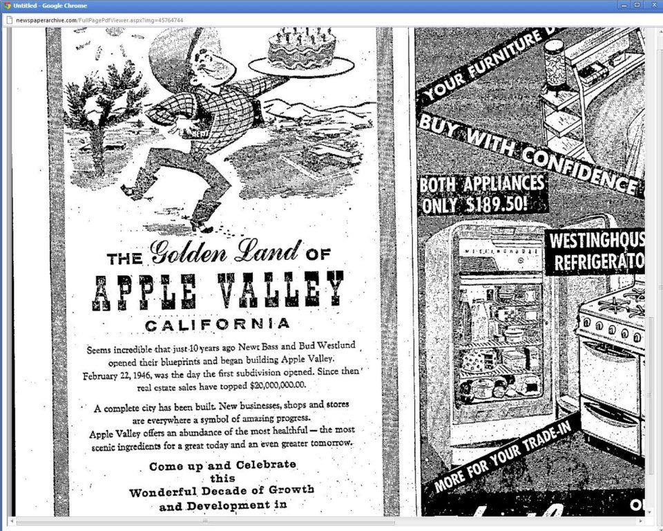 1956 newspaper advertisement celebrating the 10 year anniversary 1956 newspaper advertisement celebrating the 10 year anniversary of golden land of apple valley newt malvernweather Choice Image