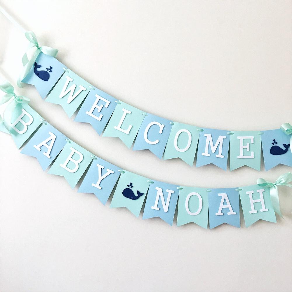 Whale Baby Shower Banner Nautical Boy Shower Decorations Whale Etsy In 2021 Baby Shower Banner Boy Welcome Baby Banner Ocean Baby Shower Theme
