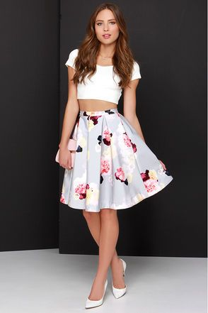 0054c12eba Keepsake Divide Light Grey Floral Print Midi Skirt | Dresses and ...