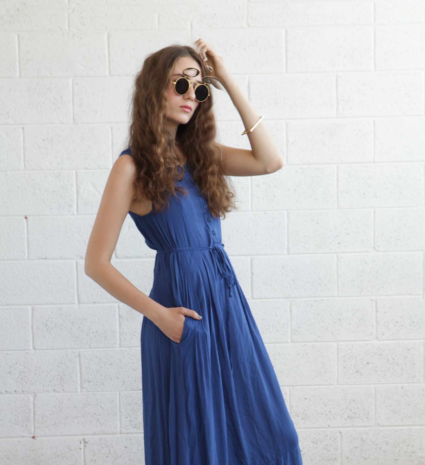 Navy blue maxi dress t h r e a d s m e t a l s pinterest