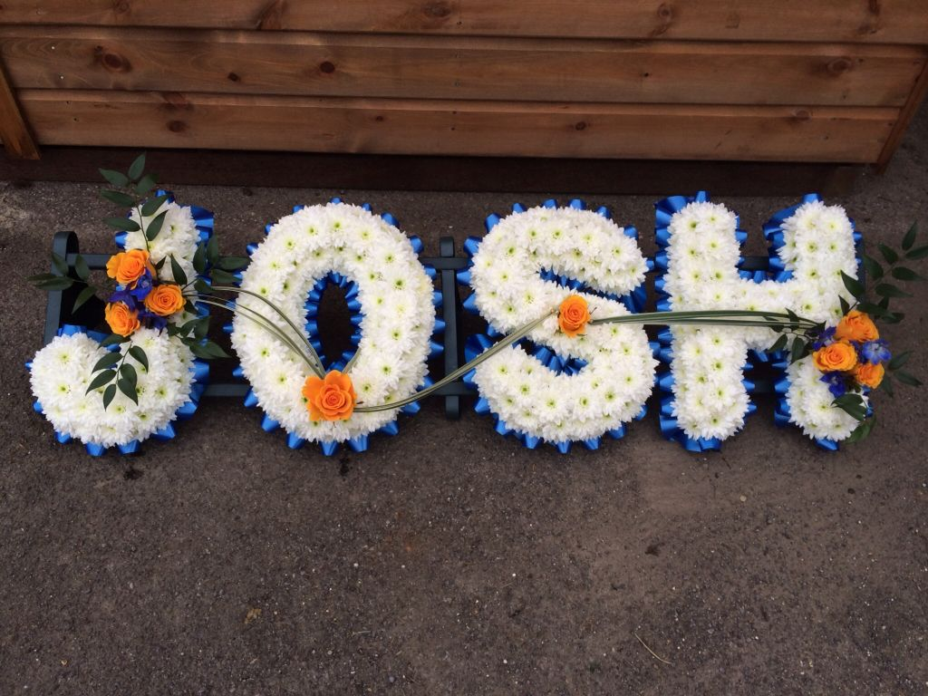Here Is The Name Josh With Blue Ribbon Edging Based With White