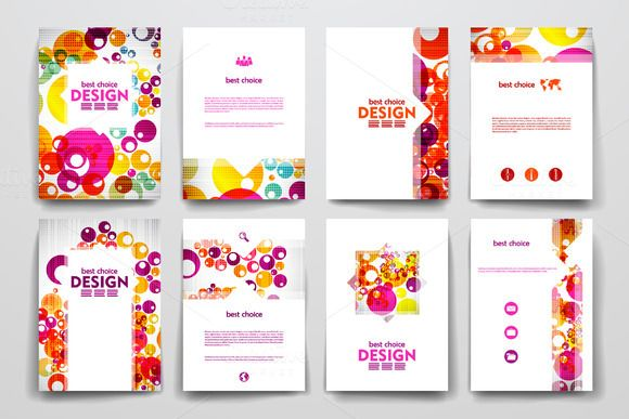 Colourful Brochure Templates By Palau On Creative Market  Set Of