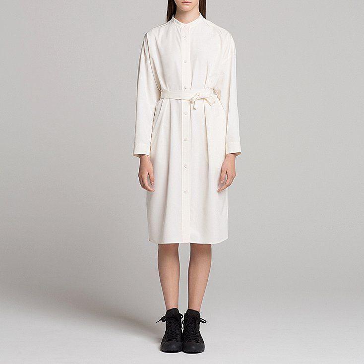 WOMEN UNIQLO U STAND COLLAR LONG SLEEVE SHIRT DRESS   Long sleeve ...