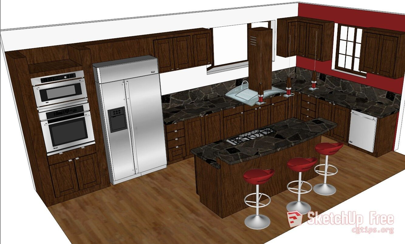 1435 Kitchen Sketchup Model Free Download Kitchen
