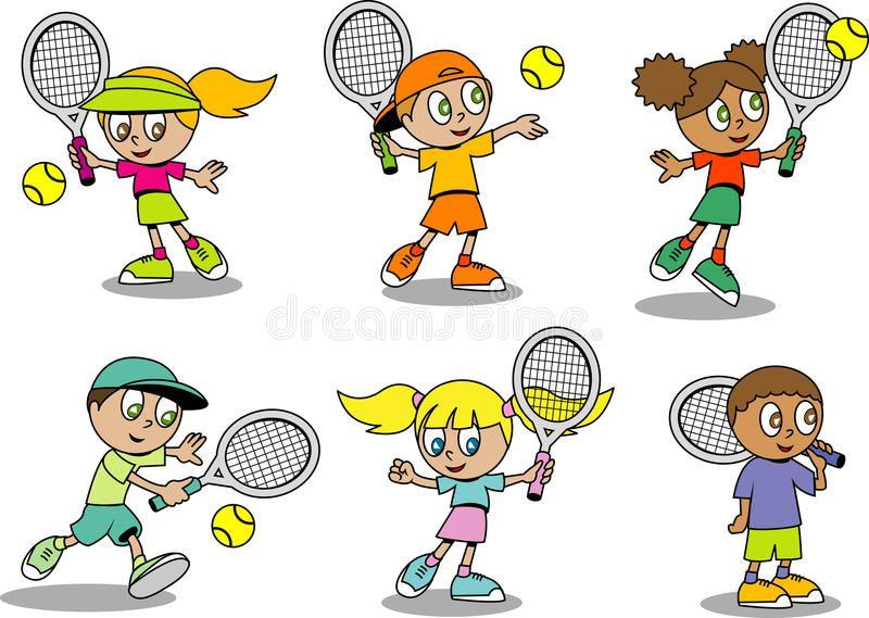 Cute Tennis Kids Group Of Cute Cartoon Tennis Kids Sponsored Kids Tennis Cute Group Kids Ad Kids Tennis Cartoon Kids Kids Stock