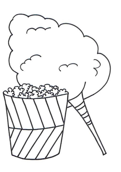 Cotton Candy And Popcorn Coloring Page school activities