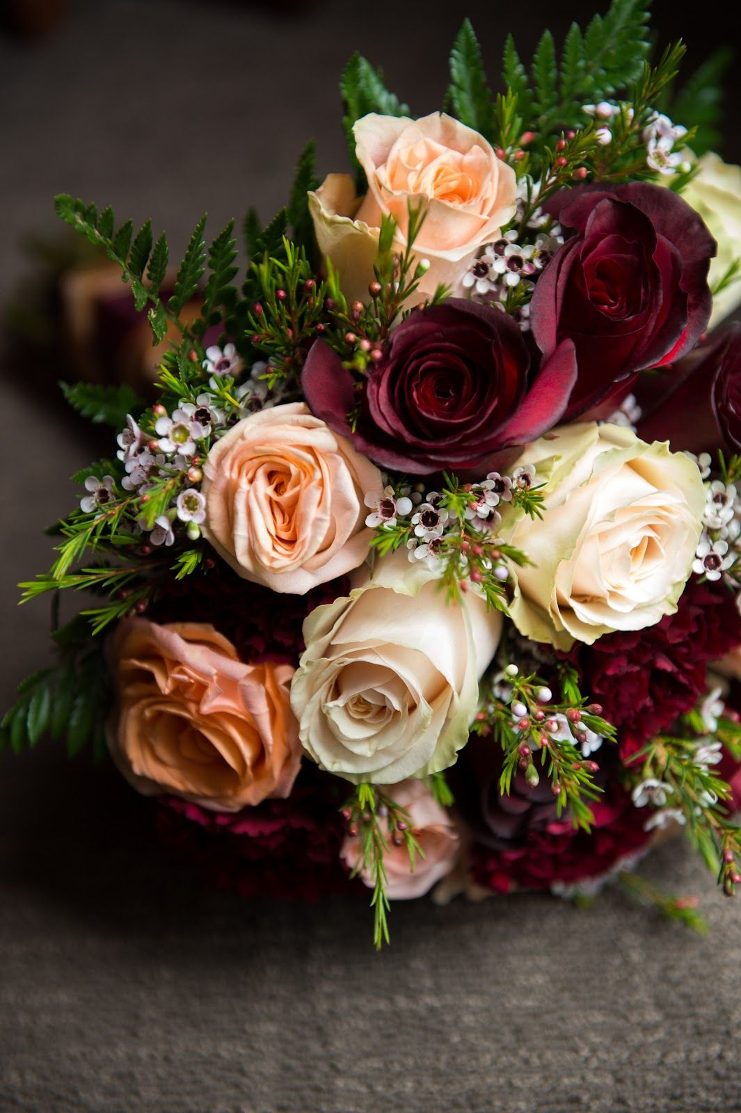 Burgundy, Rose Gold and Gold wedding bouquet and