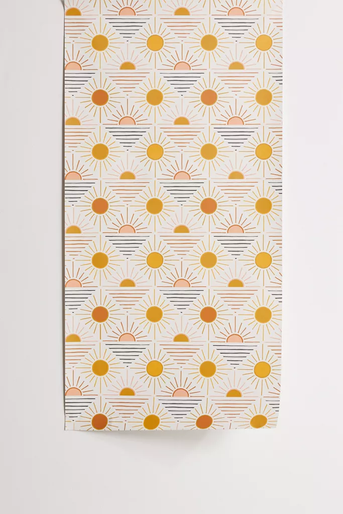 Geo Sun Removable Wallpaper Urban Outfitters In 2020 Wallpaper Stencil Stick On Wallpaper Removable Wallpaper