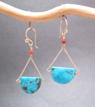 3d3b2cc32 Modglam 142 Red Coral Turquoise Earrings by CalicoJunoJewelry, $44.00
