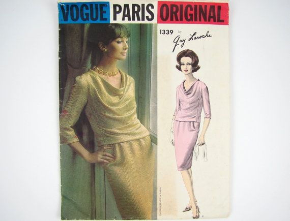 Vintage 60s Designer Sewing Pattern - Two Piece Dress with Draped ...