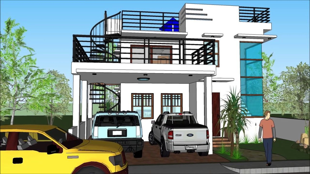 Modern House With Roof Deck Modern House Modern House Design Traditional Brick Home