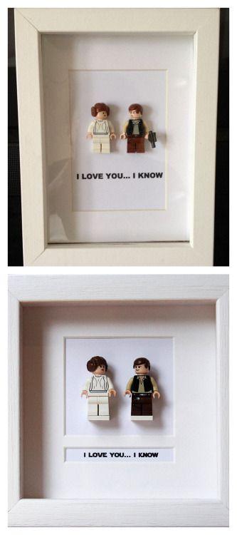 I Love You Leia Han Solo Star Wars Comic Lego Figurine Wall Display Picture Frame Toy Art