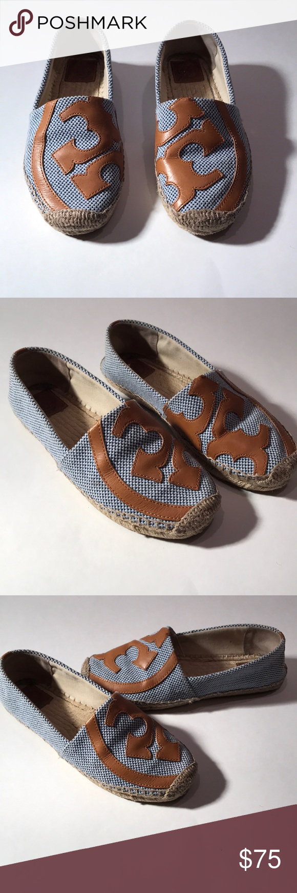 "114452a76 Tory Burch ""Lonnie"" Flat Logo Espadrille Two tone woven fabric upper in  blue Leather signature logo on front in contrast tan color Woven jute  midsole Canvas ..."