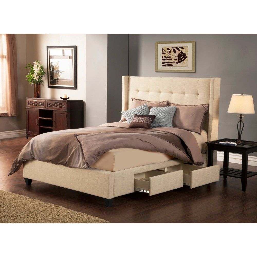 manhattan wingback fabric upholstered storage bed in tan
