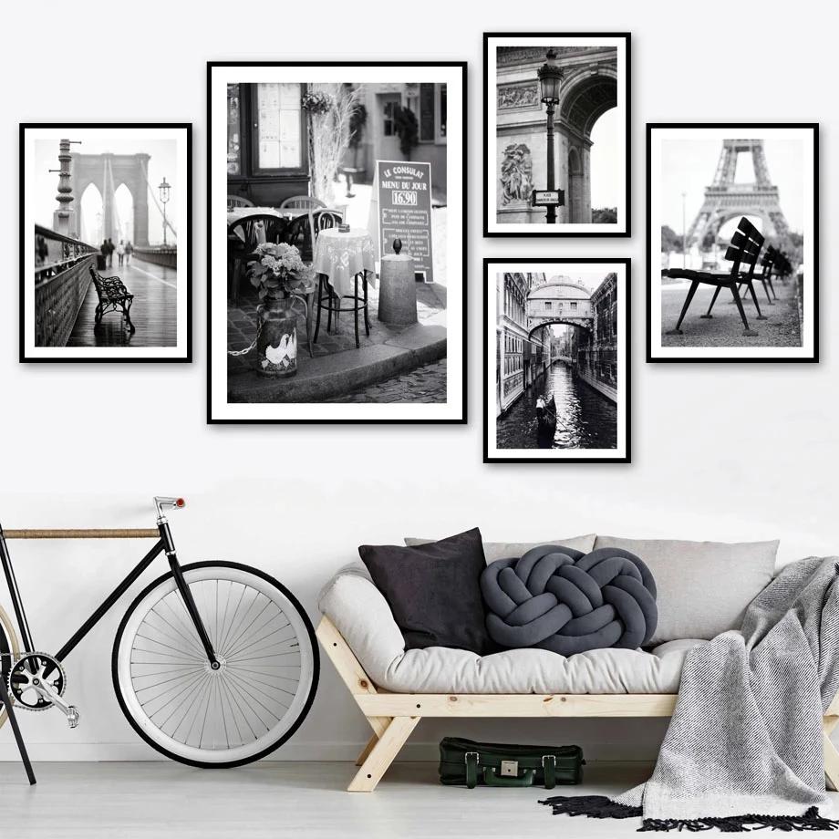 Black White Paris Photos Gallery Wall Art Famous European City