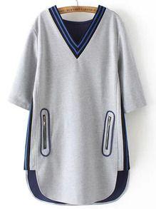 Robe avec poches col V -Noir
