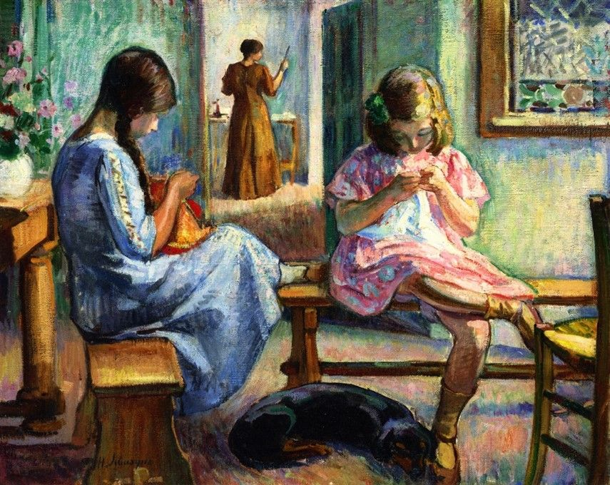 Marthe and Nono Sewing-c.1910 by Henri Lebasque