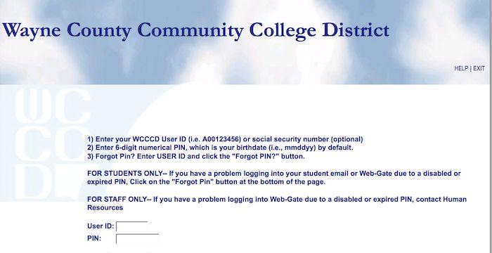 wayne county community college web gate