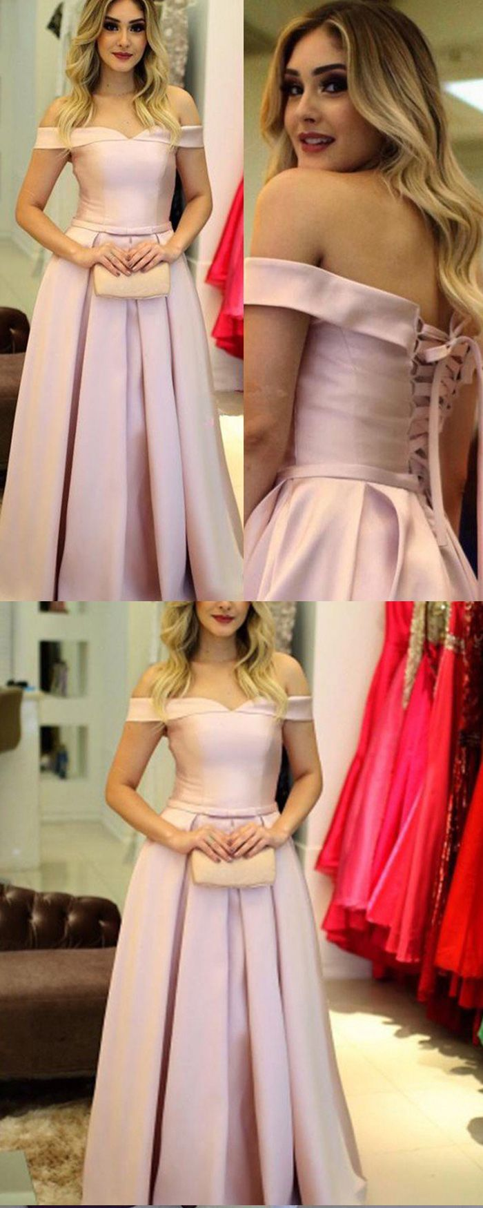 Off the shoulder pink satin pleated simple long prom dress pm