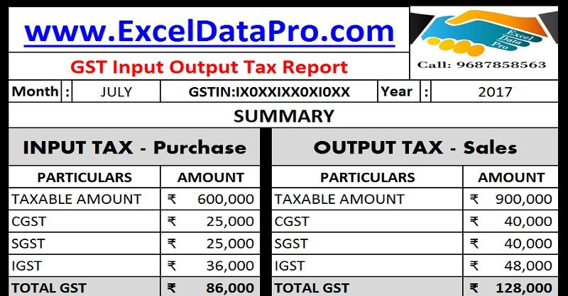 Download Gst Input Output Tax Report In Excel  Gst Templates