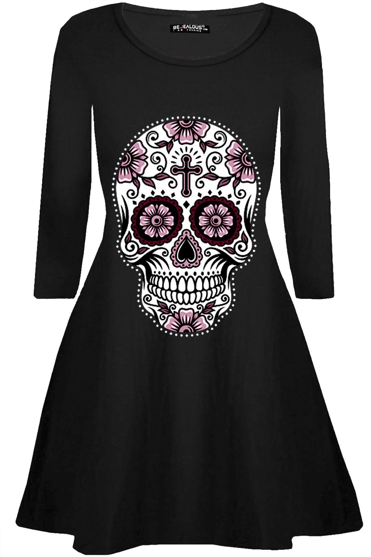 001395e50280 Womens Smock Long Sleeve Ladies Halloween Pumpkin Fancy Party Swing Mini  Dress