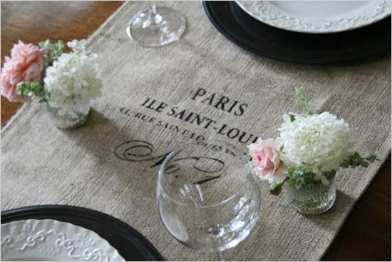 Elopement wedding with diy ideas pinterest burlap table runners diy do it yourself french diy wedding ideas french burlap table runner solutioingenieria Gallery