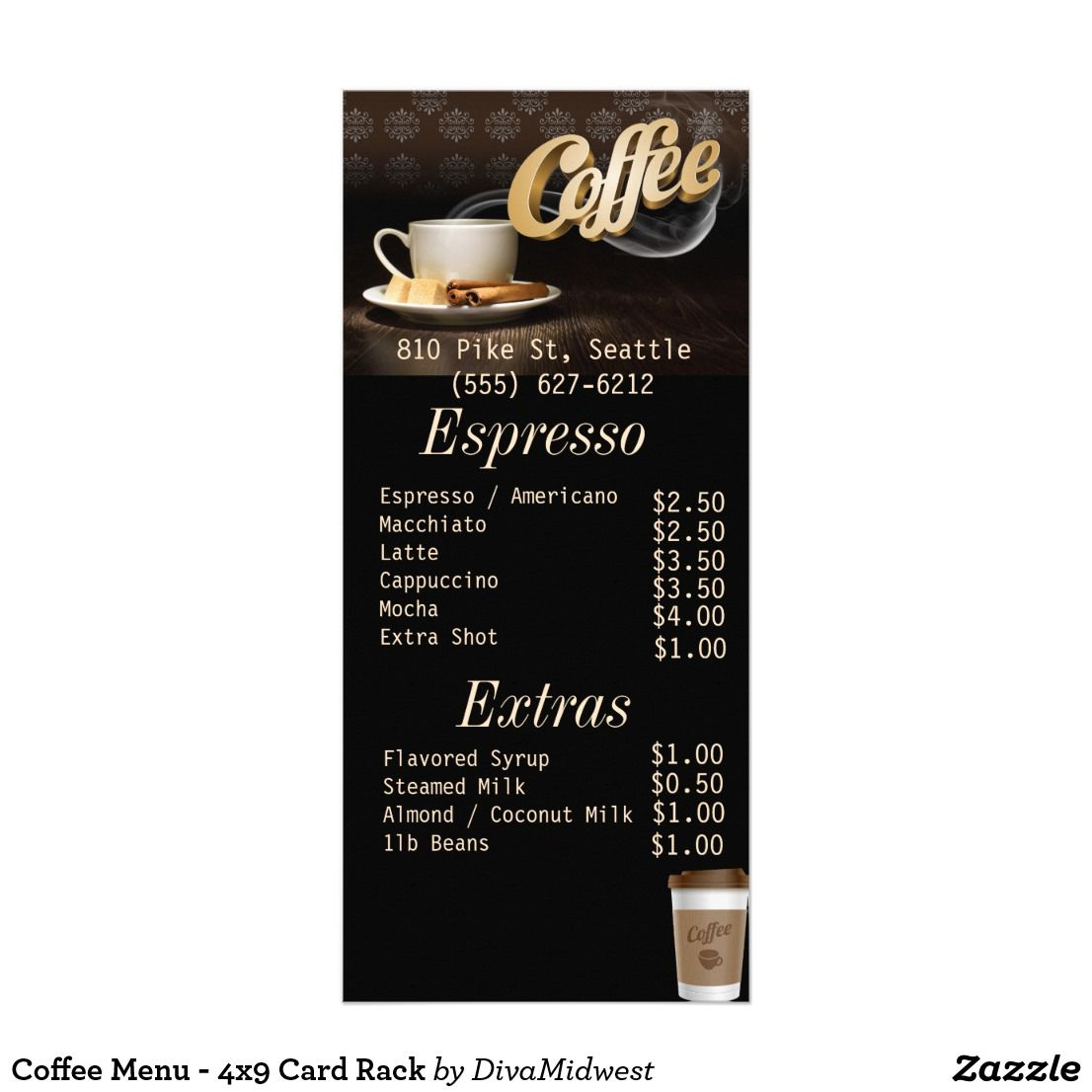 Coffee Menu 4x9 Card Rack Coffee Menu Coffee Shop Menu Coffee Shop