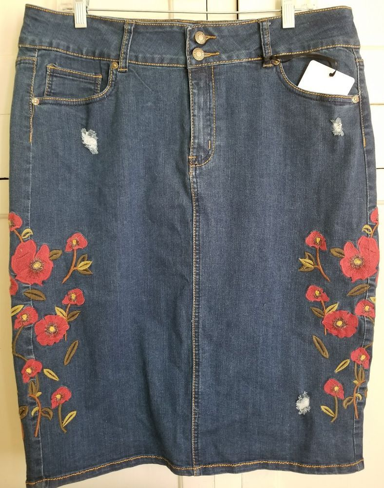 050a7a650d Distressed Denim Floral Embroidered Perfect Fit Jean Skirt Size 14 by  Sandpiper #Sandpiper #StraightPencil