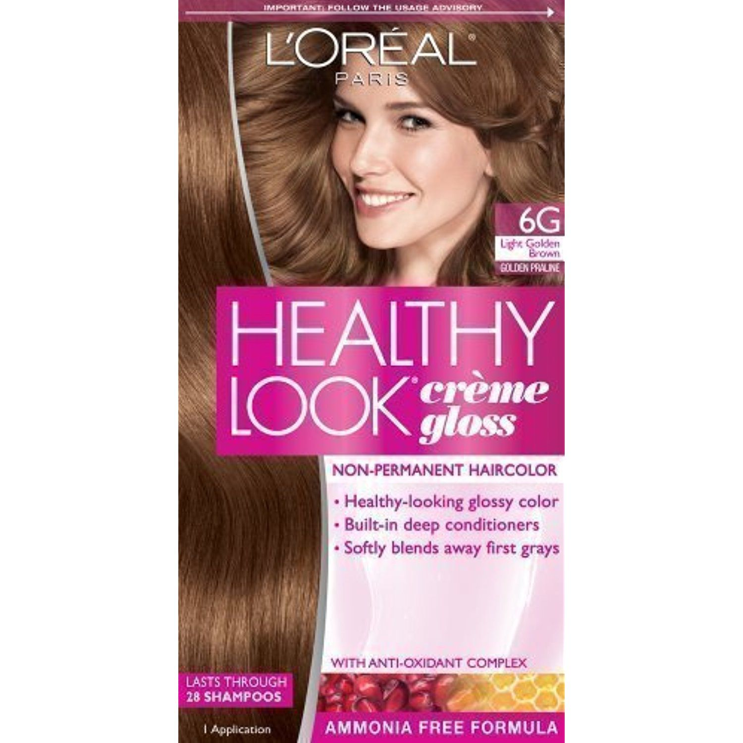 Loreal Healthy Look Hair Dye Creme Gloss Color Light Golden Brown